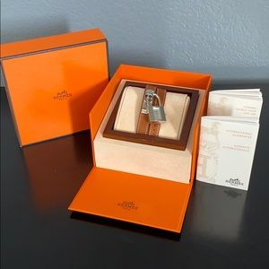 HERMES Kelly Silver Dial Brown Leather Watch